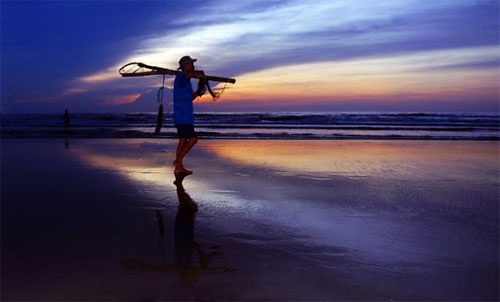 Bầu trời biển Hải Hòa đẹp lung linh, huyền ảo.